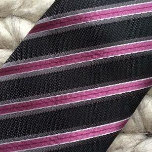 Geoffrey Beene Accessories - Geoffrey Bean Purple Diagonal Stripe Skinny Tie